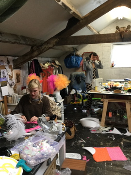 The adorable Fran and Maria, hard at work creating our fabulous, candy-inspired costumes (well, costumes for Colin and Laurie, swimwear for me)